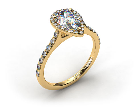 18k Yellow Gold Pave Halo and Shank Diamond Engagement Ring (Pear Center)